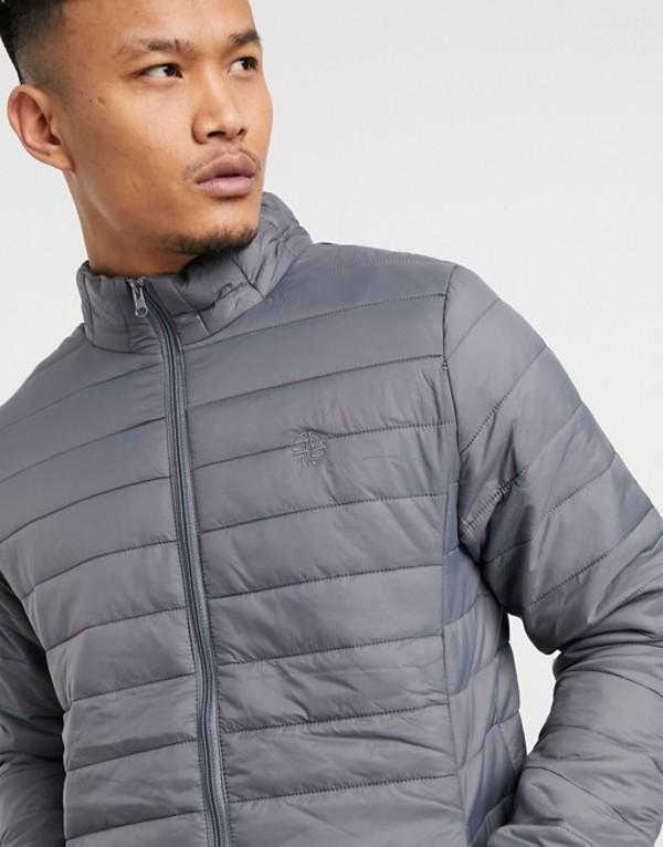 ソウルスター メンズ ジャケット・ブルゾン アウター Soul Star lightweight puffer with carry pouch in gray Grey:ReVida 店