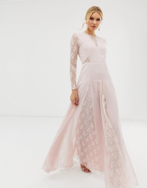 エイソス レディース ワンピース トップス ASOS DESIGN maxi dress with long sleeve and lace paneled bodice Soft pink
