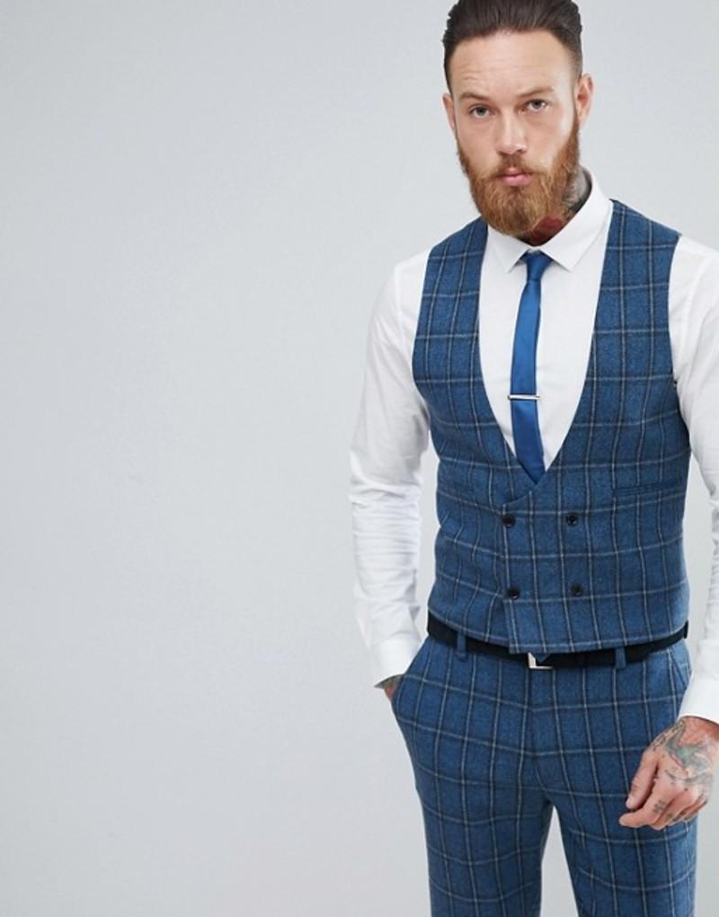 エイソス メンズ タンクトップ トップス ASOS Skinny Suit Vest In Blue Gradient Wool Blend Check Blue