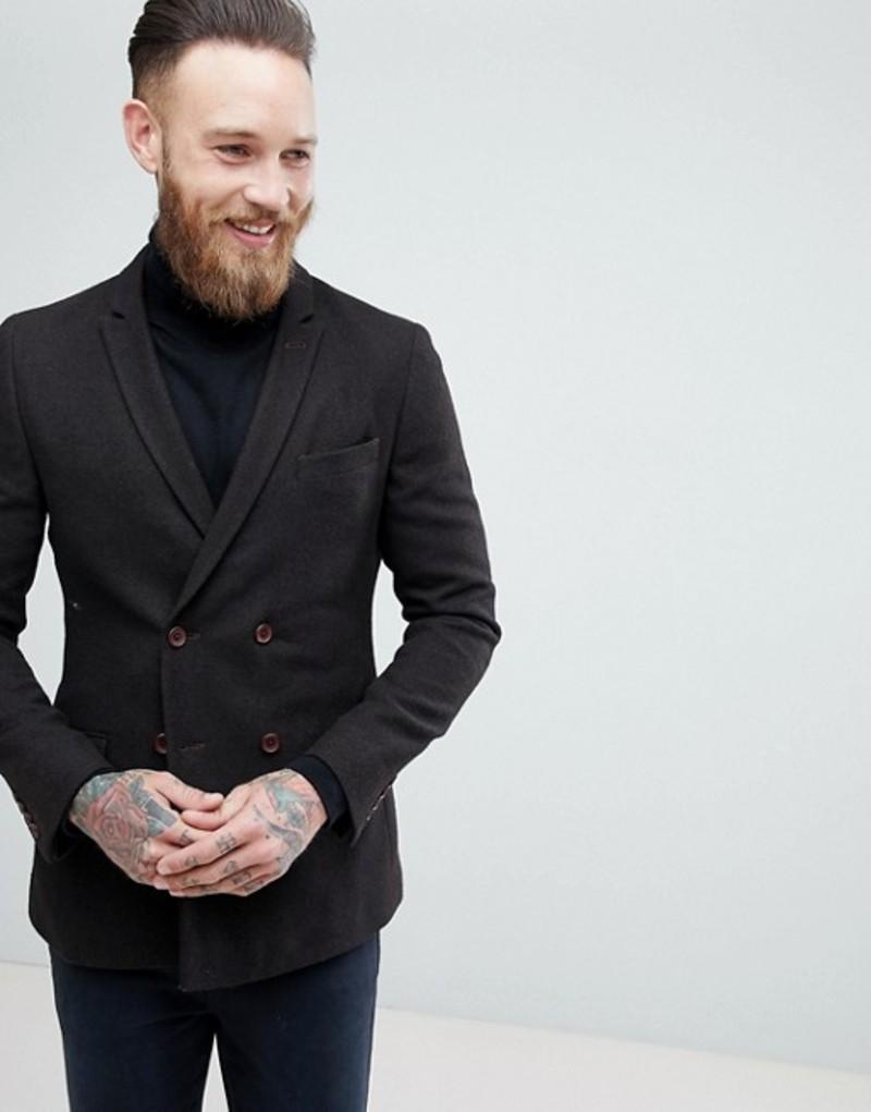 エイソス メンズ ジャケット・ブルゾン アウター ASOS Skinny Double Breasted Texture Blazer In Brown Wool Mix Dark brown