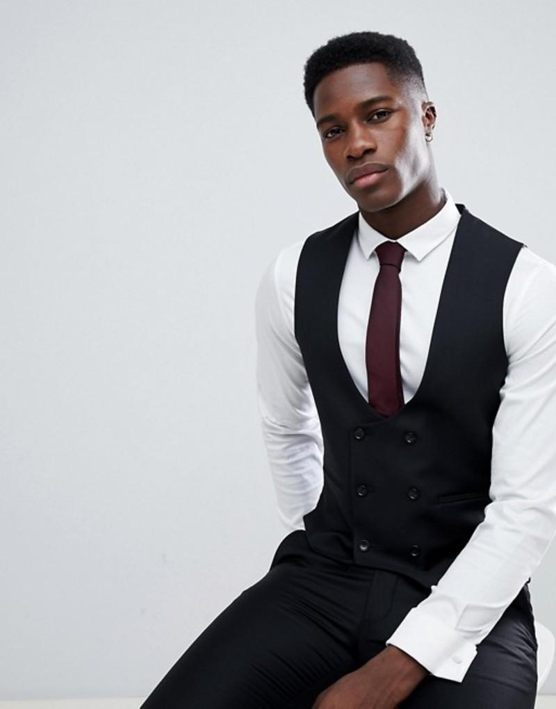 エイソス メンズ タンクトップ トップス ASOS Wedding Skinny Suit Vest In Black 100% Wool Black
