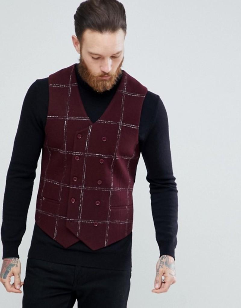 エイソス メンズ タンクトップ トップス ASOS Slim Vest In Moons Wool Rich Burgundy Check Burgundy