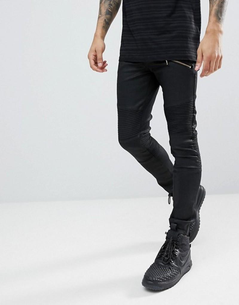 エイソス メンズ デニムパンツ ボトムス ASOS Super Skinny Jeans In Black With Biker Details Black