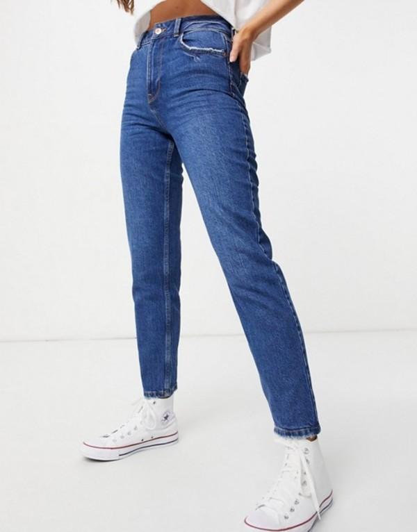 送料無料 サイズ交換無料 ニュールック レディース ボトムス デニムパンツ Blues 売店 本物 New waist in Look enhance blue mom jean