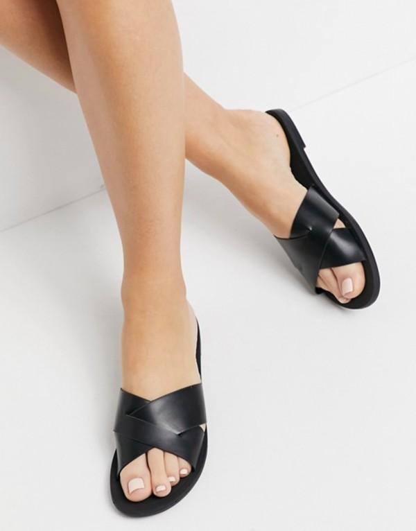 送料無料 サイズ交換無料 エイソス レディース シューズ サンダル デポー Black ASOS strap DESIGN cross Facts sandals ランキングTOP5 black in mule