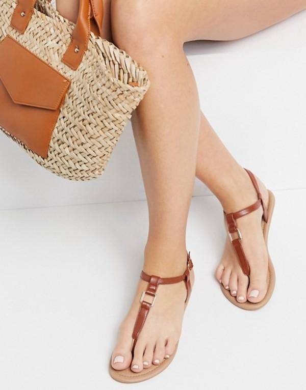 送料無料 サイズ交換無料 エイソス レディース シューズ サンダル Tan 商舗 ASOS 保証 in hardware sandals tan Fulfil flat DESIGN