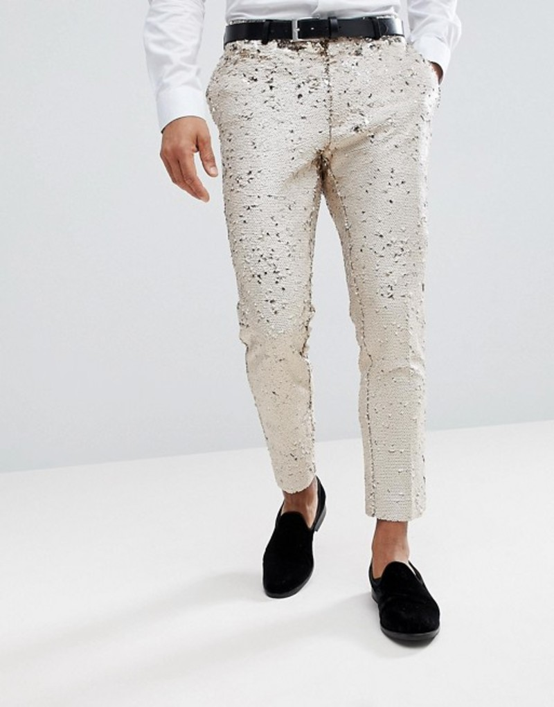 エイソス メンズ カジュアルパンツ ボトムス ASOS Wedding Skinny Crop Smart Pants In Cream Reversible Sequins Cream