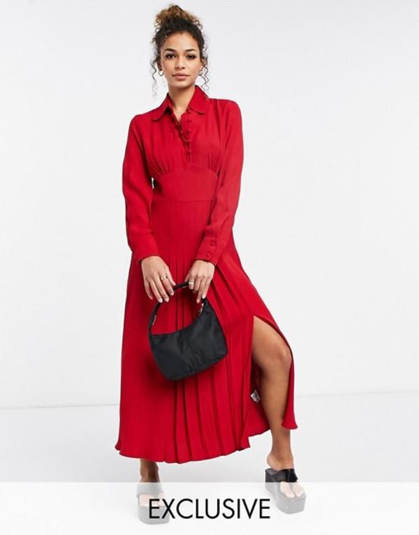 送料無料 サイズ交換無料 ゴースト レディース トップス ワンピース Red 数量限定 Ghost Claudette red side dress 未使用品 sleeves and with in slit long
