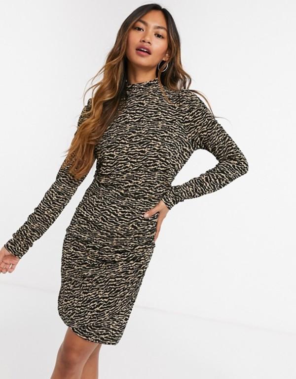 Vero zebra dress neck トップス ワンピース body-conscious Tan high print レディース jayda Moda ヴェロモーダ in tan with mini