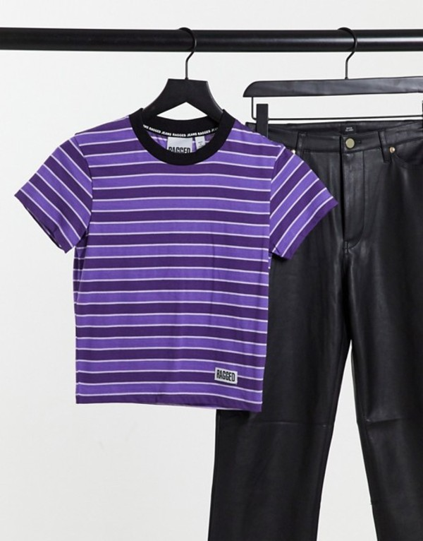 in stripe Purple シャツ with レディース ザラグドプリースト Ragged t-shirt トップス The fitted stripe Priest logo