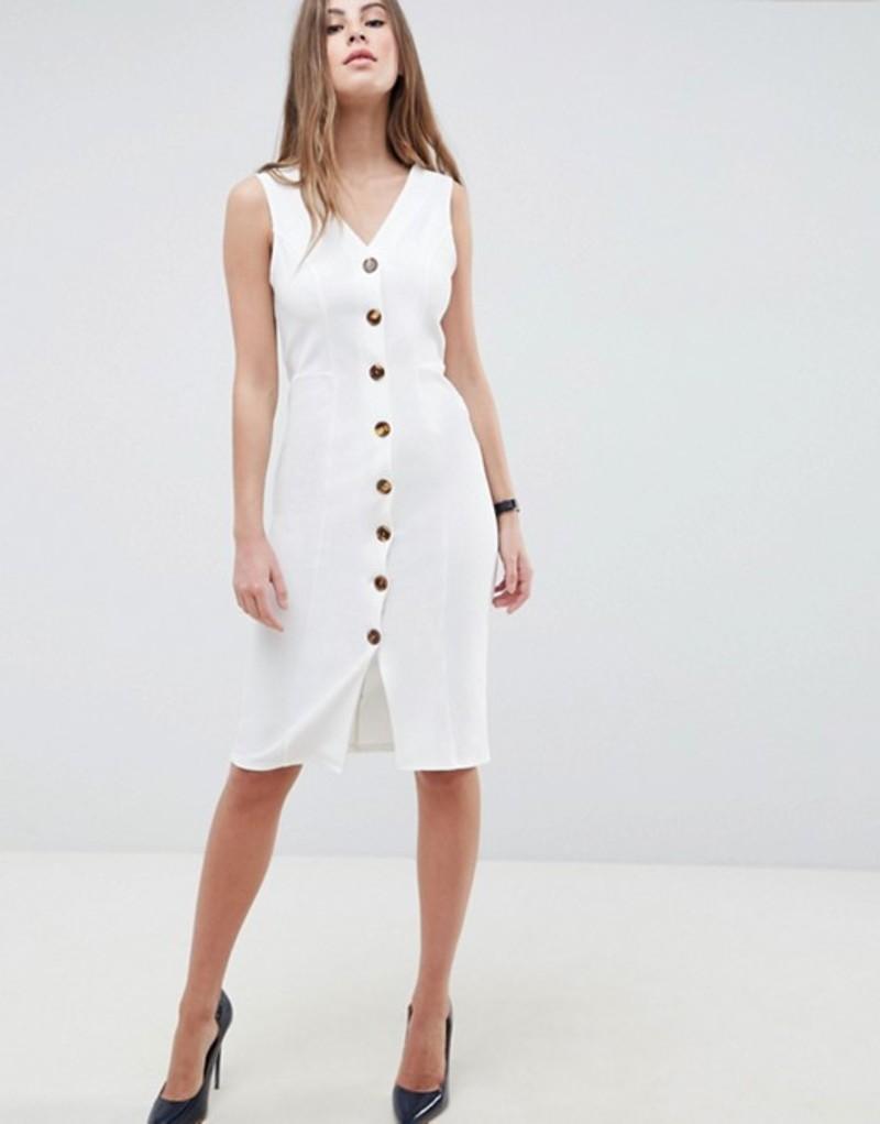 エイソス レディース ワンピース トップス ASOS DESIGN v neck dress with tortoiseshell buttons White