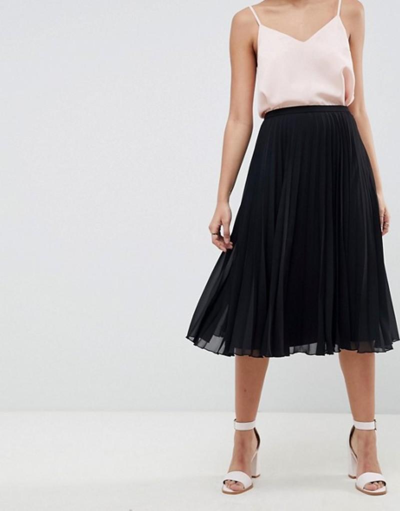 エイソス レディース スカート ボトムス ASOS DESIGN pleated midi skirt Black