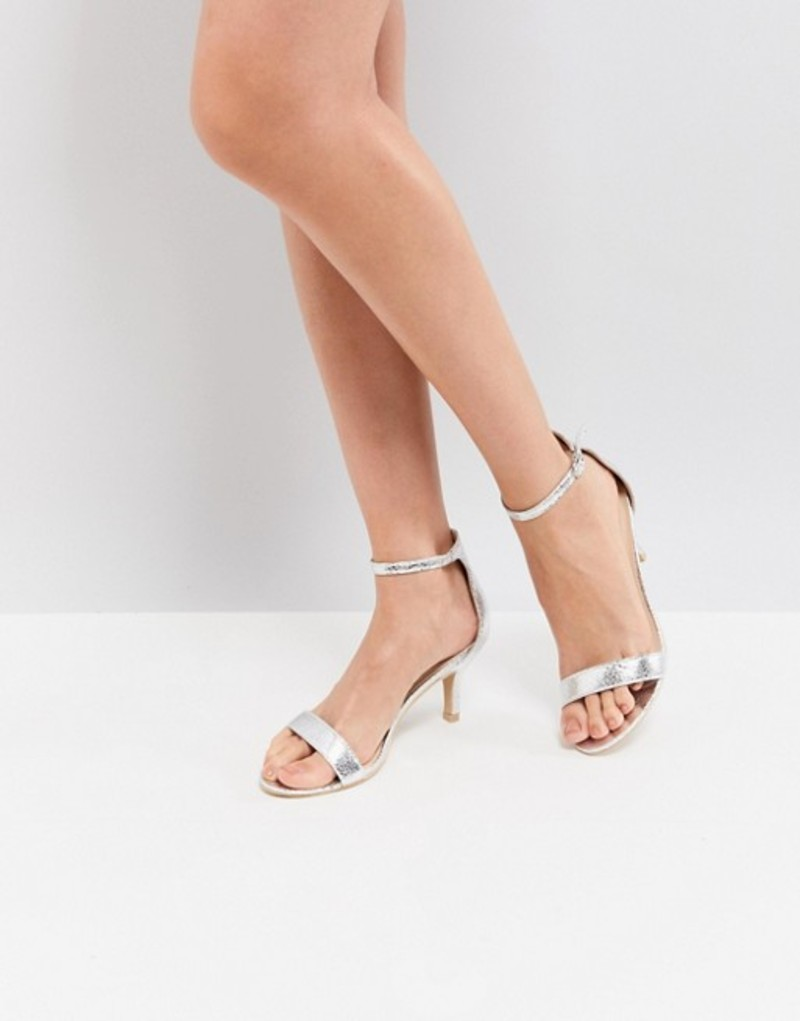 グラマラス レディース サンダル シューズ Glamorous Silver Barely There Kitten Heeled Sandals Silver
