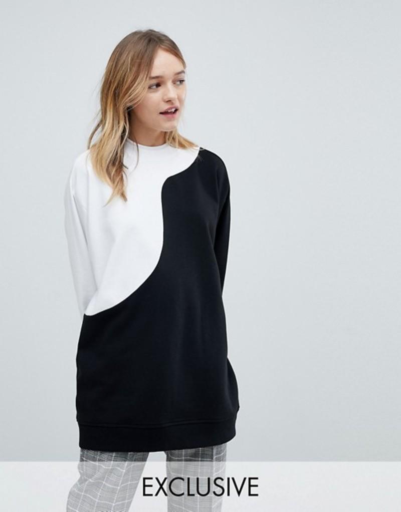 モンキ Oversized レディース Monki パーカー・スウェット アウター Monki Oversized Sweatshirt Sweatshirt Black and white, S1/5 エスゴブンノイチ:badf5be8 --- jpm.mx