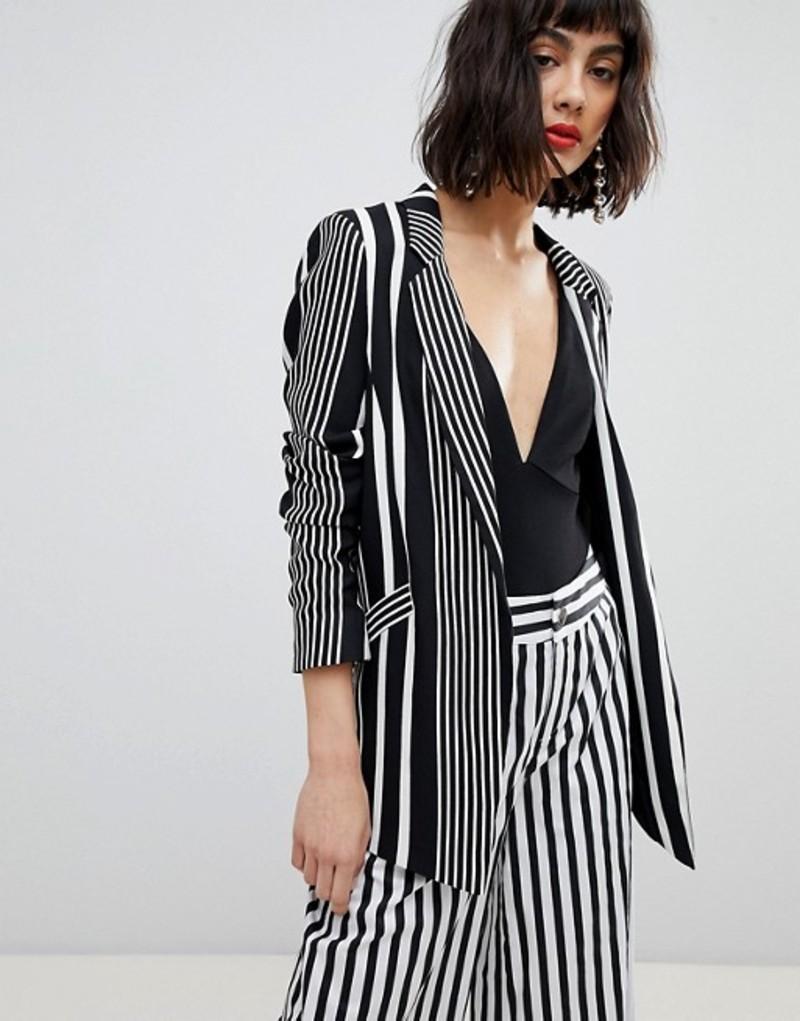 リバーアイランド レディース ジャケット・ブルゾン アウター River Island Stripe Tailored Blazer Black stripe