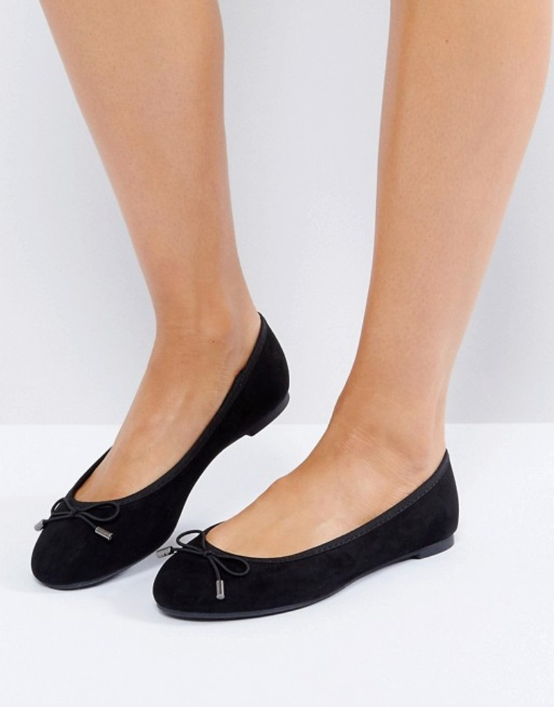 ニュールック レディース パンプス シューズ New Look Suedette Bow Ballet Pump Black