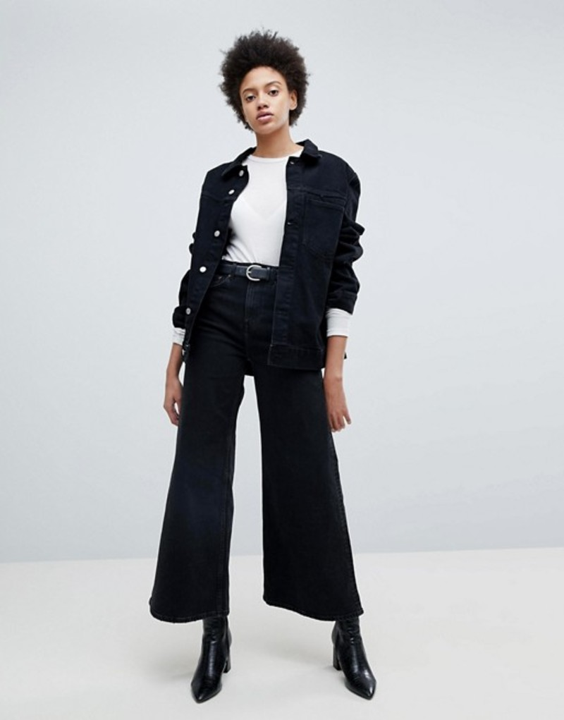 ウィークデイ レディース デニムパンツ ボトムス Weekday Ace A-line Wide Leg Jeans Washed black