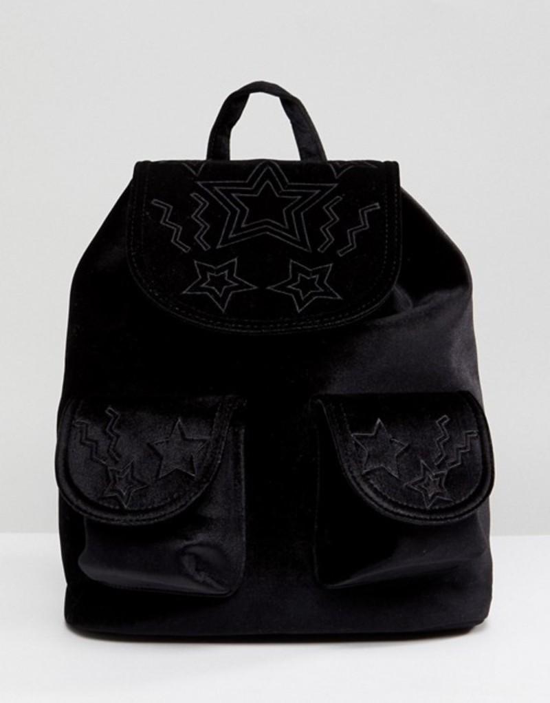 スキニーディップ レディース バックパック・リュックサック バッグ Skinnydip Star Embossed Pocket Velvet Backpack Black