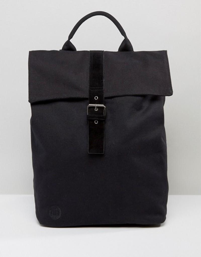 マイ・パック レディース バックパック・リュックサック バッグ Mi-Pac Canvas Fold Top Backpack in Black Black