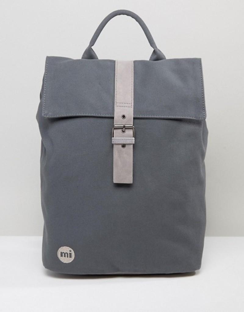 マイ・パック レディース バックパック・リュックサック バッグ Mi-Pac Canvas Fold Top Backpack in Charcoal Charcoal1