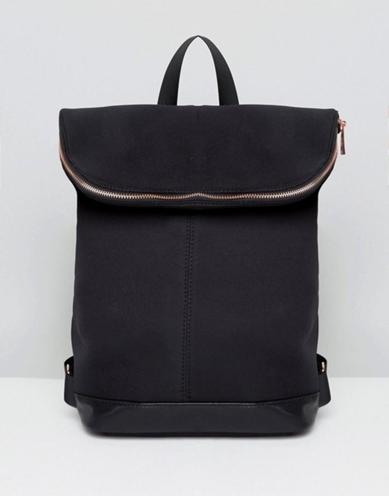 エイソス レディース バックパック・リュックサック バッグ ASOS Scuba Backpack With Rose Gold Zip Black