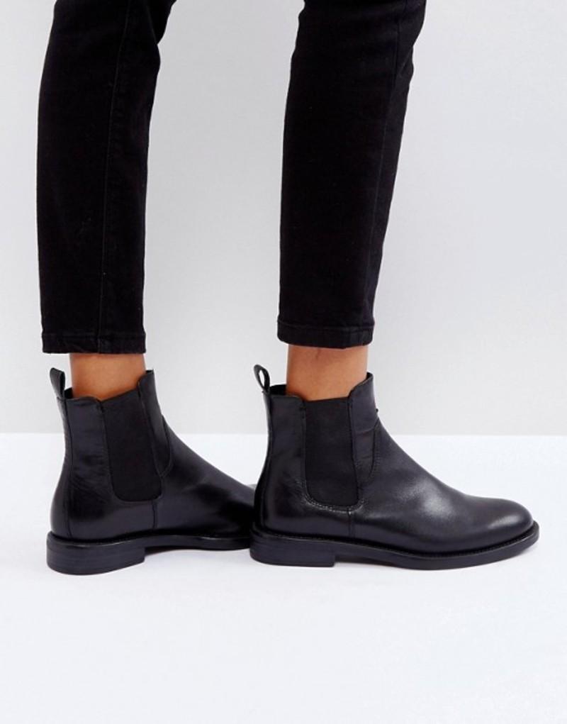 バガボンド レディース ブーツ・レインブーツ シューズ Vagabond Amina Black Leather Chelsea Boots Black