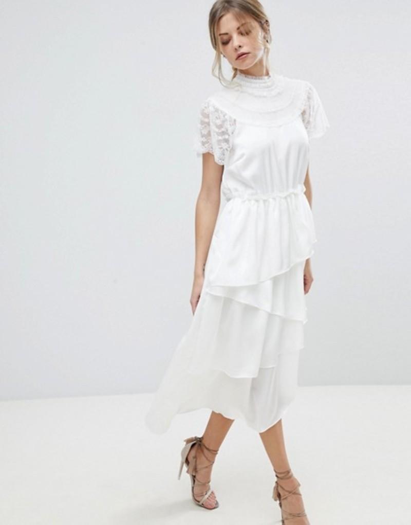 ワイエーエス レディース ワンピース トップス Y.A.S High Neck Lace Midi Dress With Asymetric Hem White