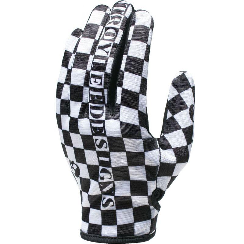 着後レビューで 送料無料 サイズ交換無料 お歳暮 トロイリーデザイン メンズ アクセサリー 手袋 Black Flowline Glove Checkers White