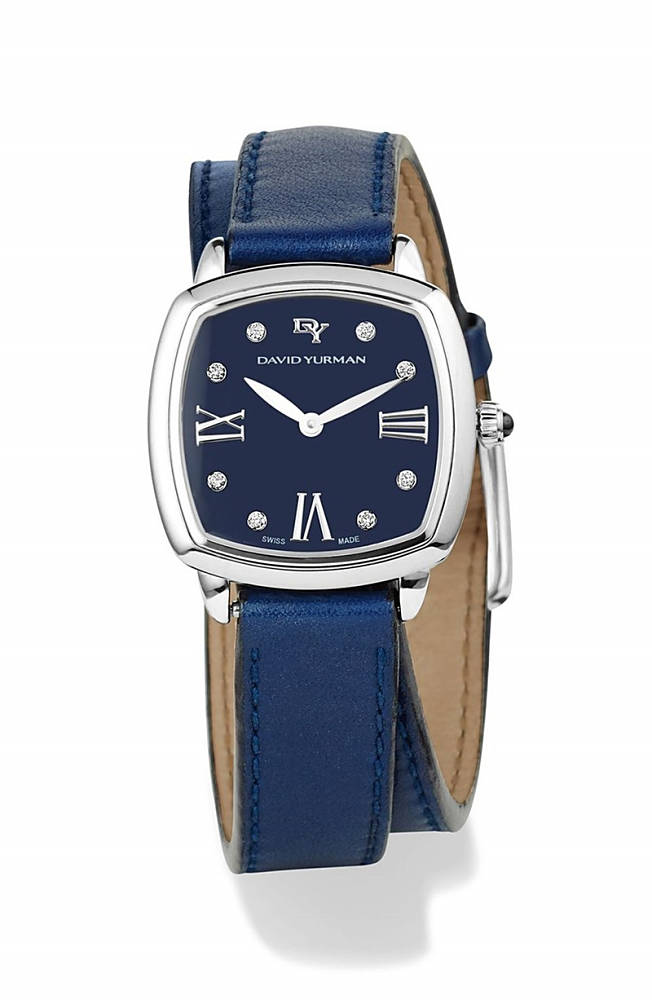 デイビット・ユーマン レディース 腕時計 アクセサリー David Yurman 'Albion' 27mm Leather Swiss Quartz Watch with Diamonds Blue