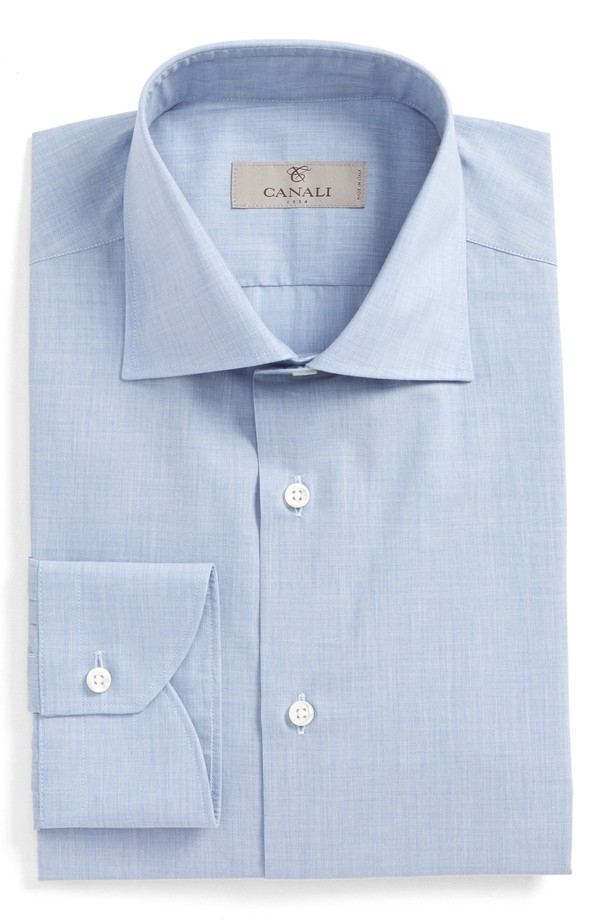 カナーリ メンズ シャツ トップス Canali Regular Fit Solid Dress Shirt Med Blue