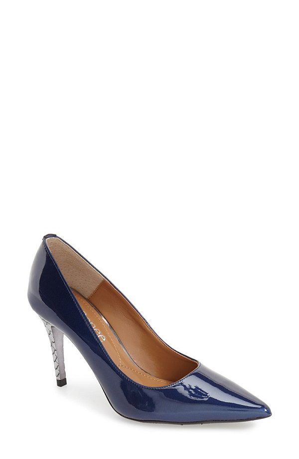 ジェイレニー レディース ヒール シューズ J. Rene 'Maressa' Pointy Toe Pump (Women) Navy Faux Patent