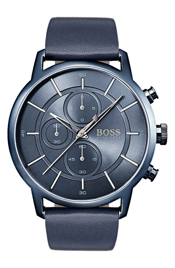 ボス メンズ 腕時計 アクセサリー BOSS Architectural Chronograph Leather Strap Watch, 44mm Navy/ Navy
