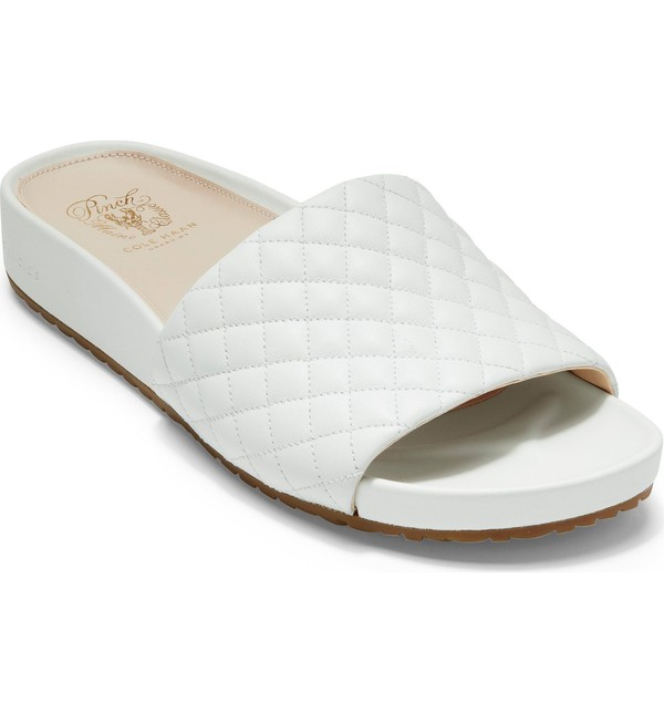 コールハーン レディース サンダル シューズ Cole Haan Pinch Montauk Slide Sandal Optic White Quilted Leather