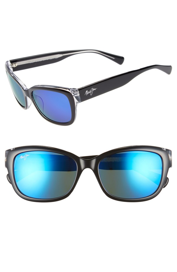 マウイジム レディース サングラス・アイウェア アクセサリー Maui Jim Plumeria 55mm Polarized Cat Eye Sunglasses Black W Crystal Blue Hawaii