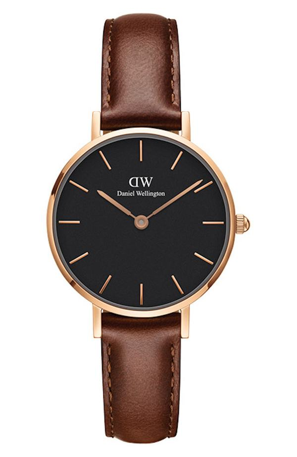 ダニエルウェリントン レディース 腕時計 アクセサリー Daniel Wellington Classic Petite Leather Strap Watch, 28mm Brown/ Black / Rose Gold