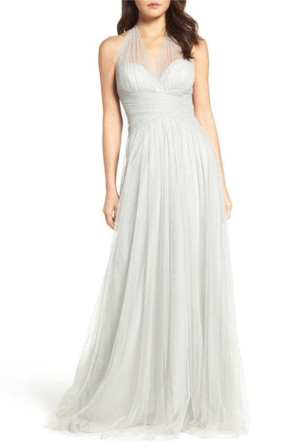 WTOO レディース ワンピース トップス WTOO Halter Tulle A-Line Gown Eucalyptus