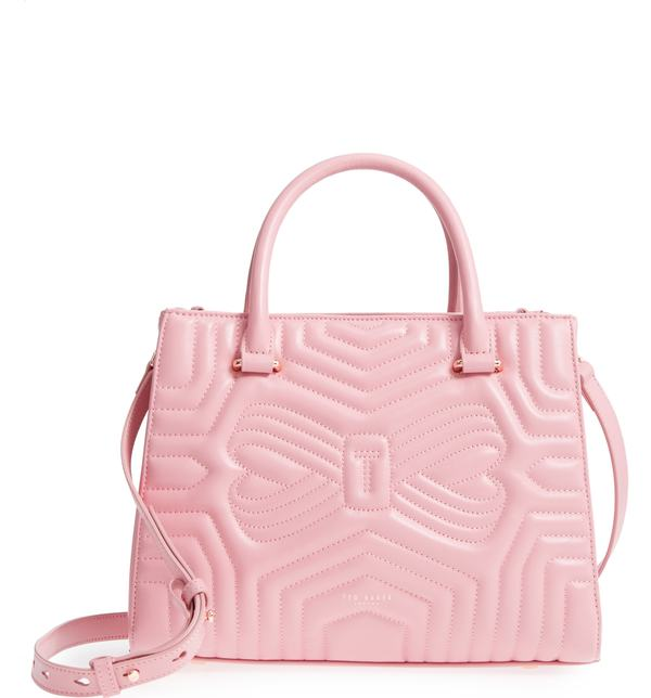 00352c26684e テッドベーカー レディース トートバッグ バッグ Ted Baker London Quilted Bow Leather Tote Dusky  Pink