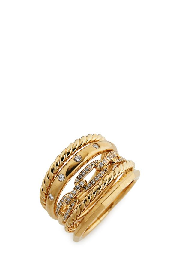 デイビット・ユーマン レディース 指輪 アクセサリー David Yurman Stax Wide Ring with Diamonds in 18K Gold, 15mm Yellow Gold