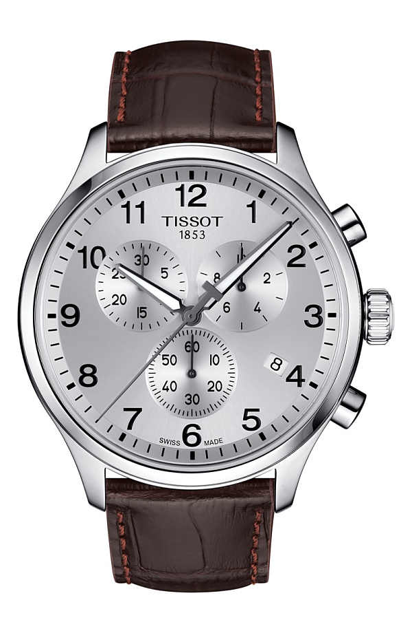 ティソット メンズ 腕時計 アクセサリー Tissot Chrono XL Collection Chronograph Leather Strap Watch, 45mm Brown/ Silver