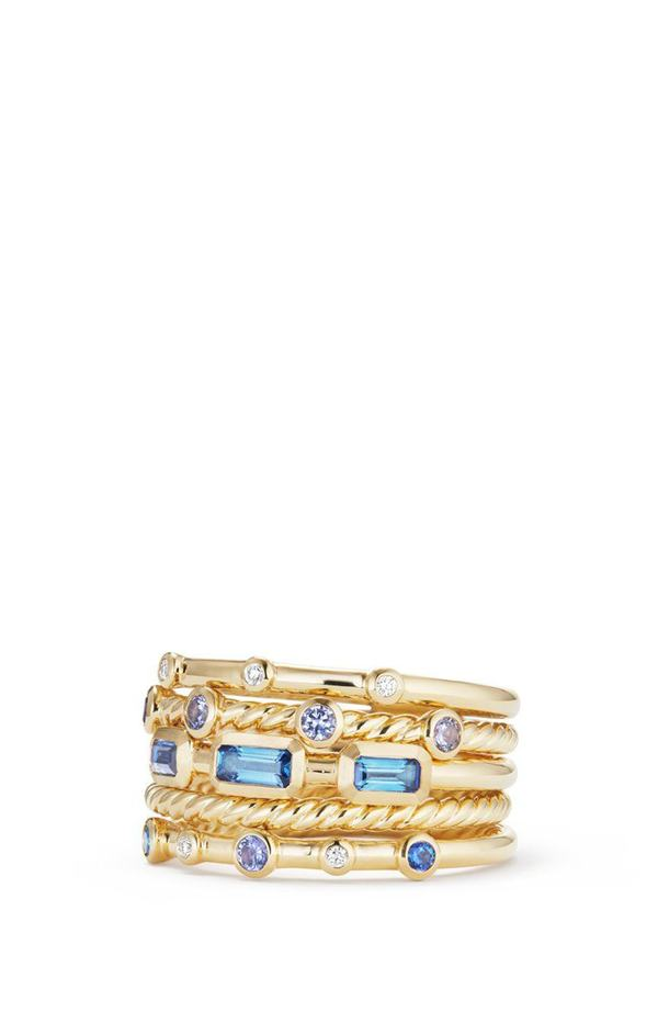 デイビット・ユーマン レディース 指輪 アクセサリー David Yurman Novella Stack Ring with Diamonds Gold/ Diamond/ Blue Sapphire