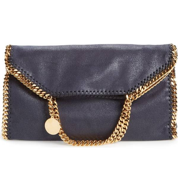 a6ead860ab16 ステラマッカートニー レディース トートバッグ バッグ Stella McCartney 'Falabella' Faux Leather  Foldover Tote Navy With Gold, 飲食店消耗品販促品の ...