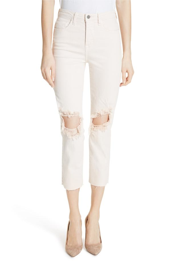 ラジャンス レディース カジュアルパンツ ボトムス L'AGENCE Audrina Ripped Straight Leg Crop Jeans Quartz Worn Destruct