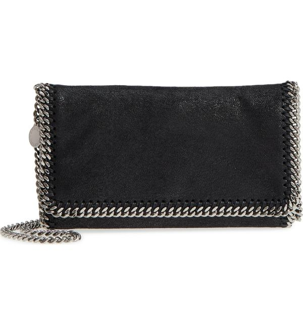 ステラマッカートニー レディース ショルダーバッグ バッグ Stella McCartney 'Falabella - Shaggy Deer' Faux Leather Crossbody Bag Black Slvr Hrdwr
