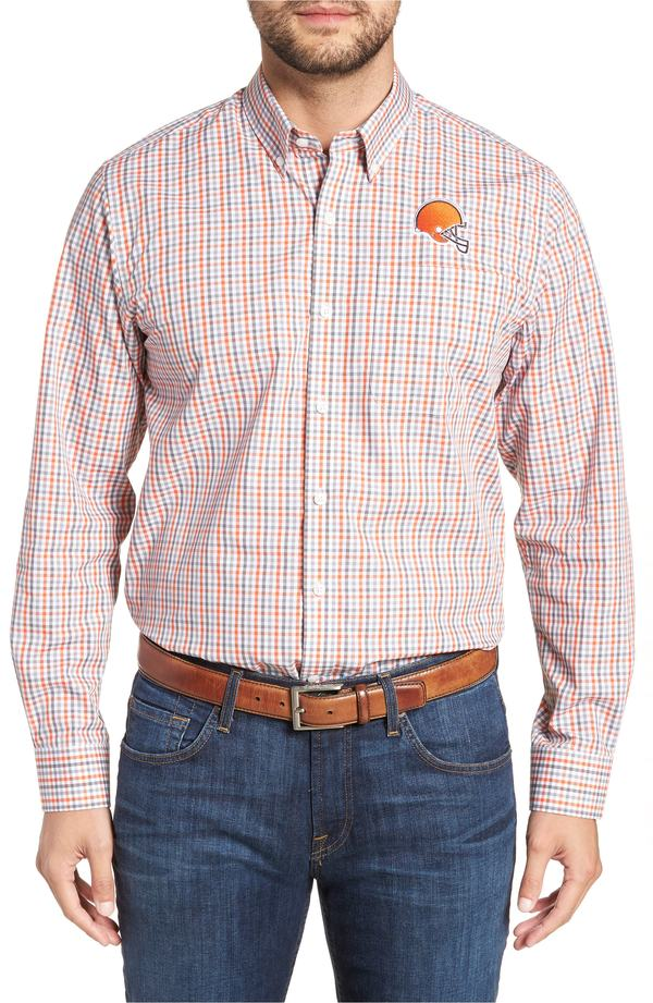 カッターアンドバック メンズ シャツ トップス Cutter & Buck Cleveland Browns - Gilman Regular Fit Plaid Sport Shirt College Orange