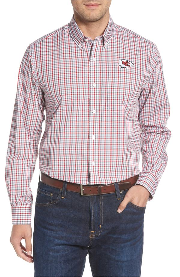 カッターアンドバック メンズ シャツ トップス Cutter & Buck Kansas City Chiefs - Gilman Regular Fit Plaid Sport Shirt Cardinal Red