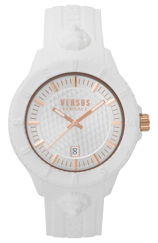 3fd4c833984a ヴェルサーチ メンズ 腕時計 アクセサリー VERSUS by Versace Tokyo Silicone Strap Watch, 43mm  White