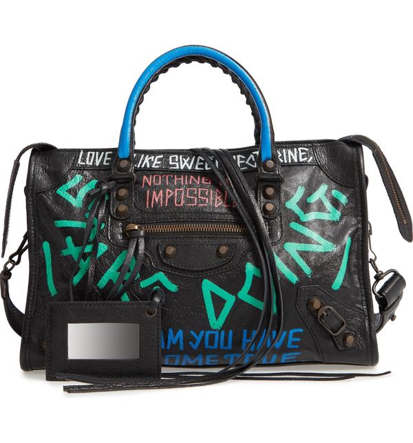 バレンシアガ レディース トートバッグ バッグ Balenciaga Small City New Graffiti Lambskin Leather Tote Noir Multi