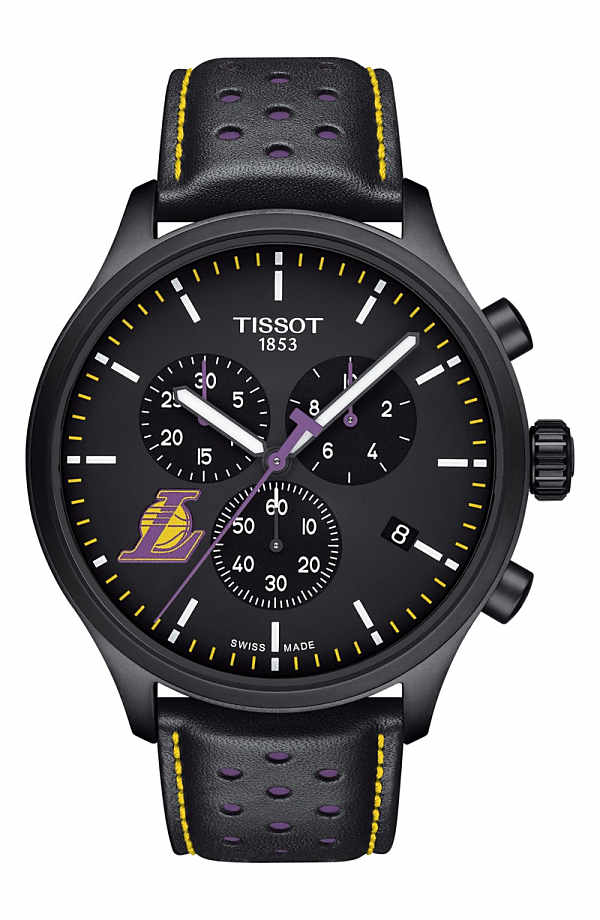 ティソット メンズ 腕時計 アクセサリー Tissot Chrono XL NBA Leather Strap Watch, 45mm Black/ Purple/ Yellow