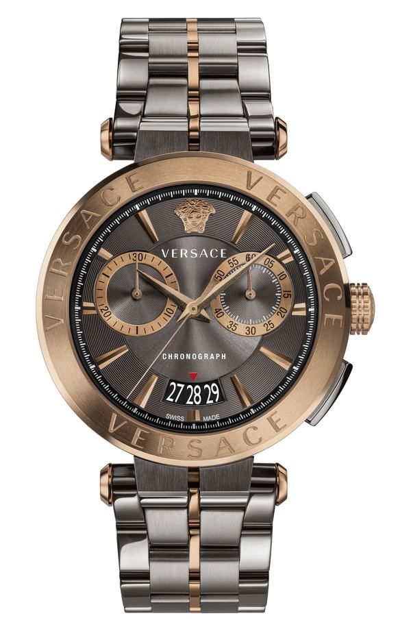 ヴェルサーチ レディース 腕時計 アクセサリー Versace Aion Chronograph Bracelet Watch, 45mm Gunmetal/ Black/ Bronze