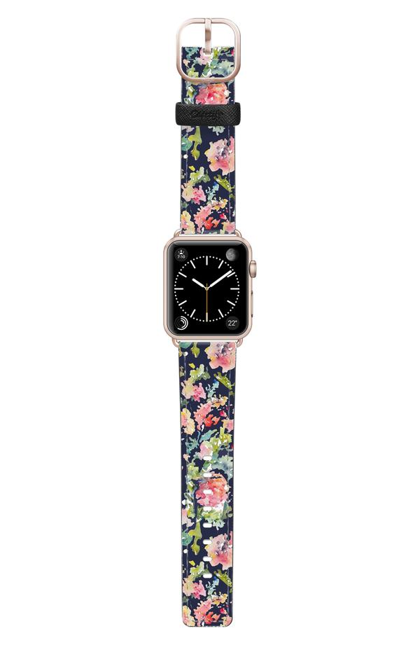 ケースティファイ メンズ 腕時計 アクセサリー Casetify Keepsake Saffiano Faux Leather Apple Watch Strap Blue/ Rose Gold